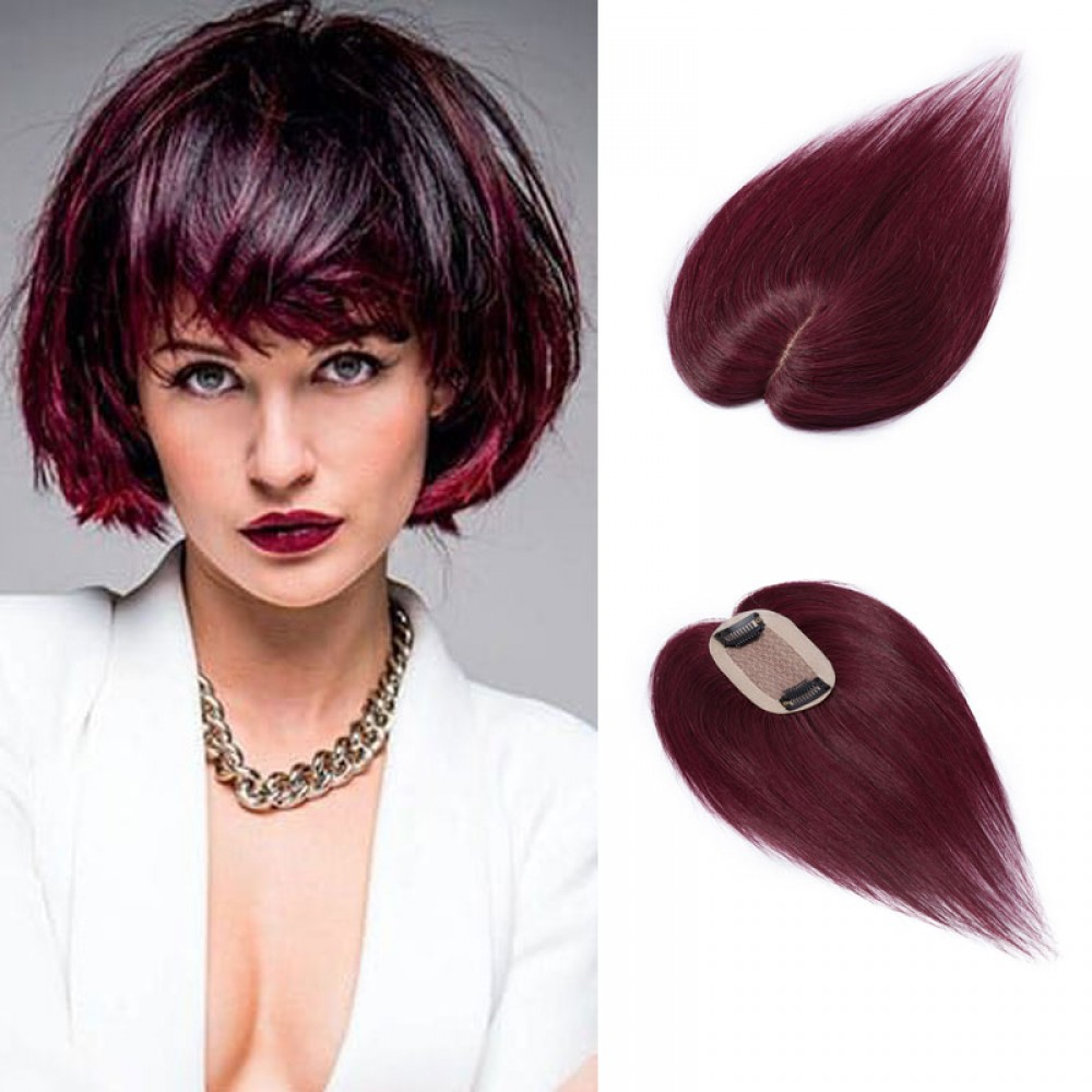 Human Hair Toppers For Thinning Hair or Hair Loss #99J Wine Red