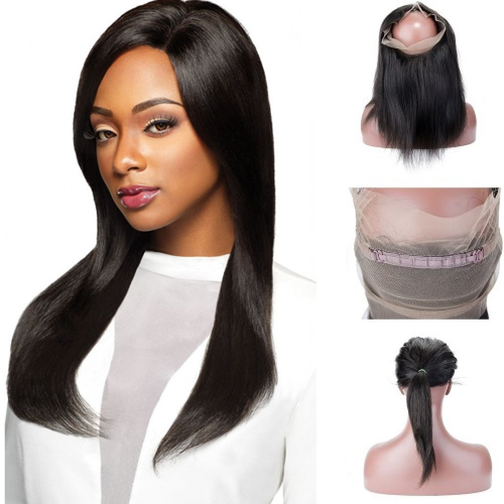 Pre Plucked 360 Lace Frontal Straight Brazilian Virgin Hair