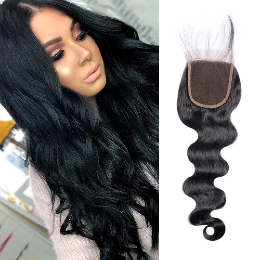 Brazilian Virgin Hair Body Wave 4*4 Free Part Lace Frontal Closure