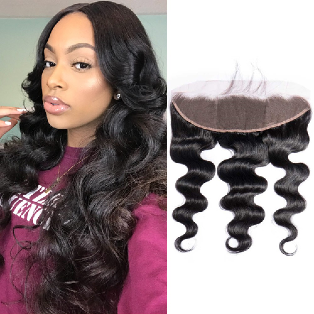 Brazilian Virgin Hair Body Wave 13*4  Free Part Lace Frontal Closure