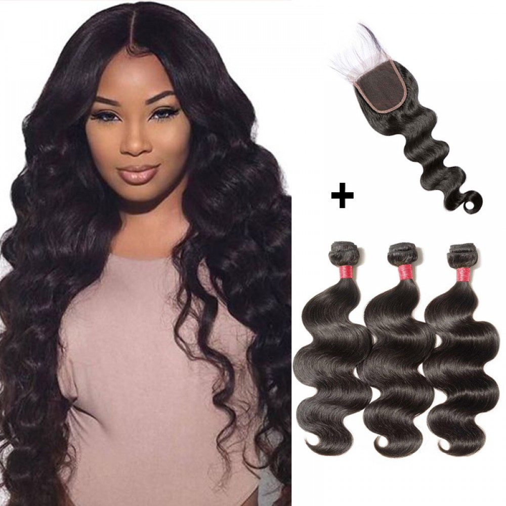 【 Segohair  8A 】3 Bundles Body Wave Virgin Malaysian Hair With 4*4 Body Wave Free Part Closure