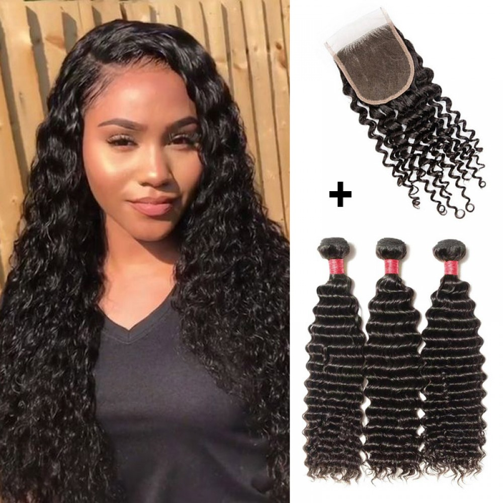 【 Segohair  8A 】3 Bundles Deep Curly Virgin Malaysian Hair With 4*4 Deep Curly Free Part Closure