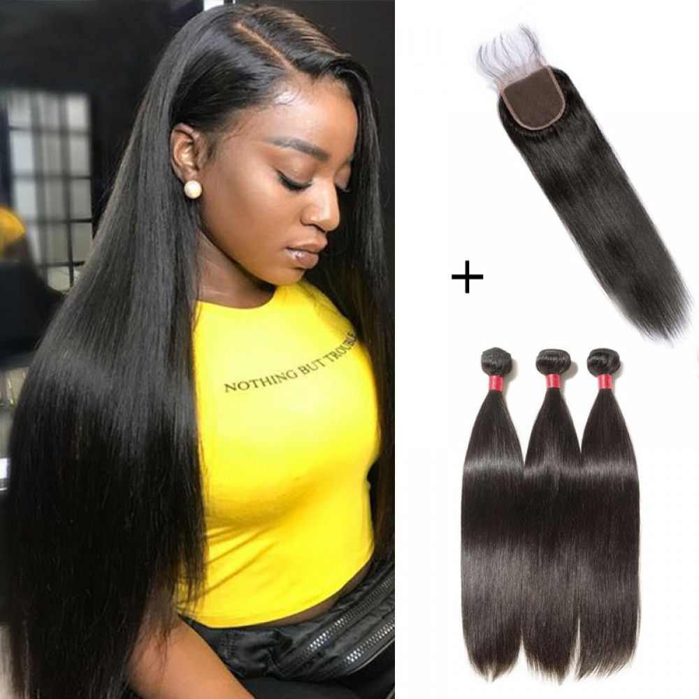 【 Segohair  8A 】3 Bundles Straight Virgin Malaysian Hair With 4*4 Straight Free Part Closure