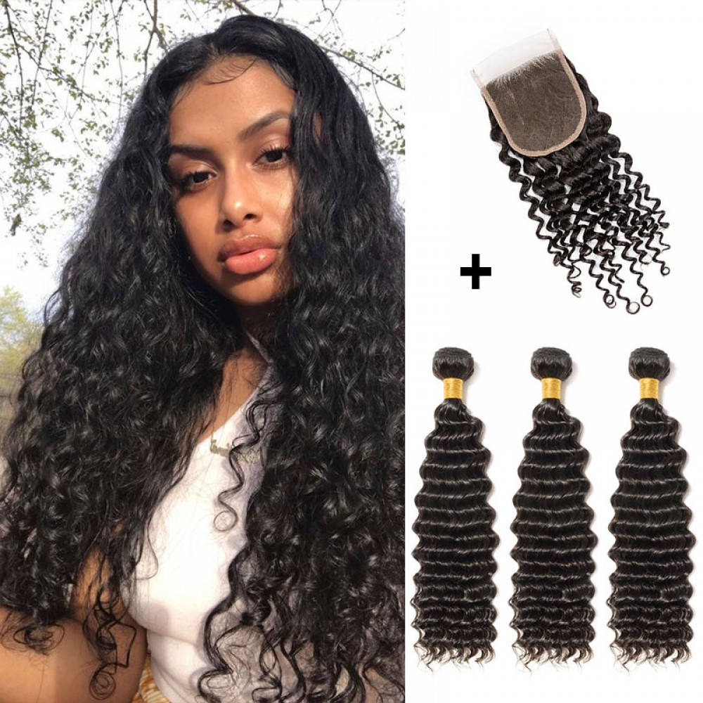 【 Segohair  8A 】3 Bundles Deep Curly Virgin Brazilian Hair With 4*4 Deep Curly Free Part Closure