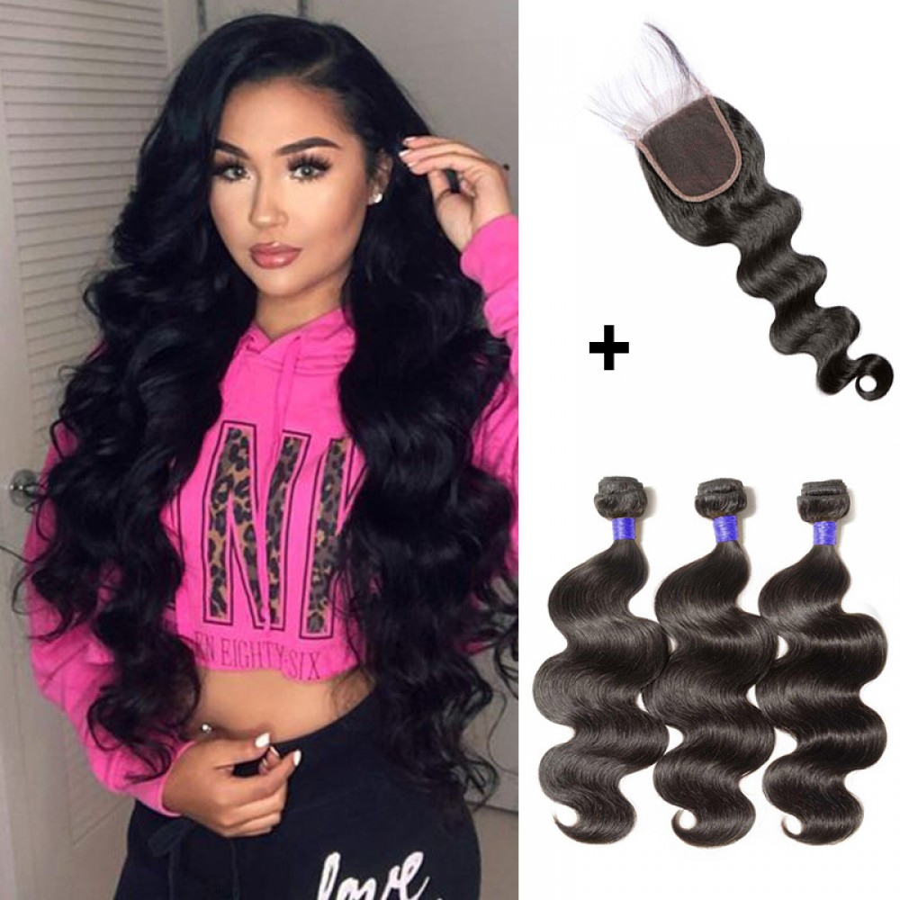 【 Segohair  8A 】3 Bundles Body Wave Virgin Peruvian Hair With 4*4 Body Wave Free Part Closure