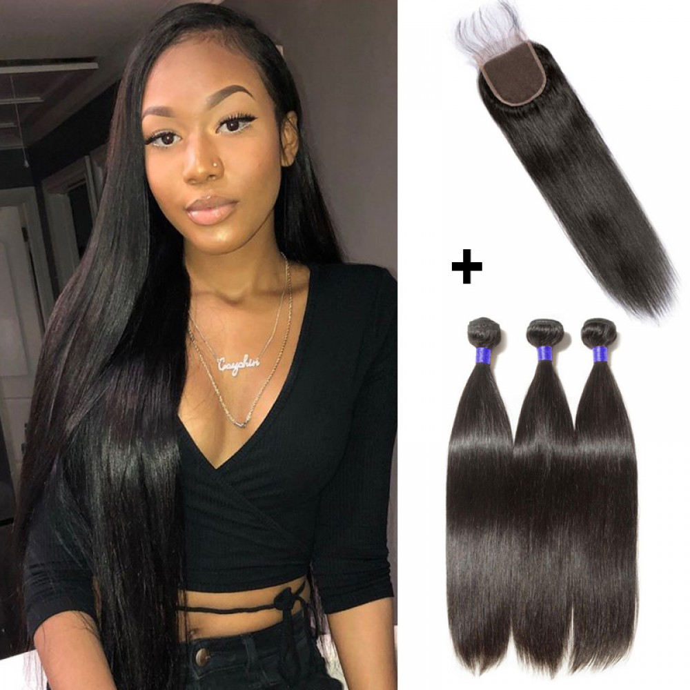 【 Segohair  8A 】3 Bundles Straight Virgin Peruvian Hair With 4*4 Straight Free Part Closure