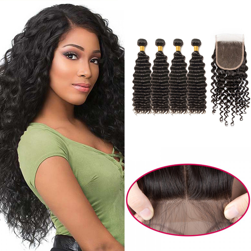 【 Buy 4 Get a Free Closure 】4 Bundles Brazilian Virgin Hair Deep Curly With 4*4  Free Part Closure Deep Curly