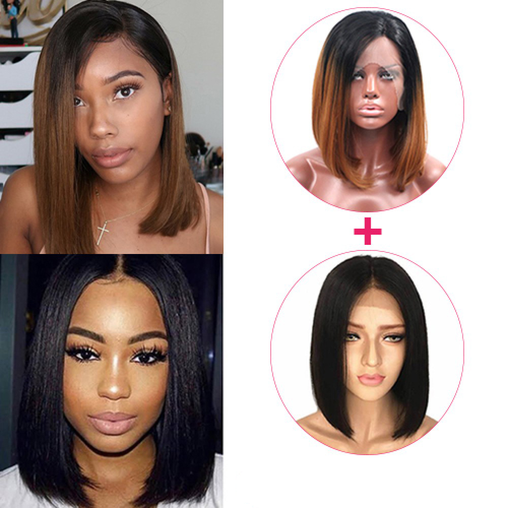 【 Combo Deal 】Pre-Plucked Brazilian Virgin Hair Lace Front Bob Wigs