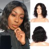 Pre-Plucked Brazilian Virgin Hair Lace Front Bob Wigs Natural Wave