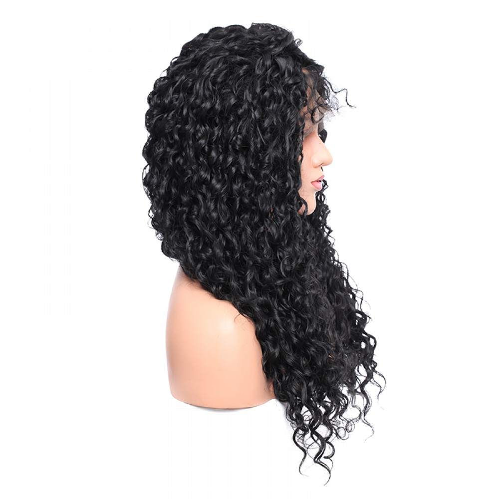Deep Curly Synthetic Lace Front Wigs 1b Natural Black